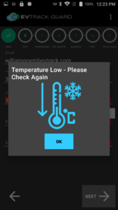EvTrack Temperature Screening Low Temp